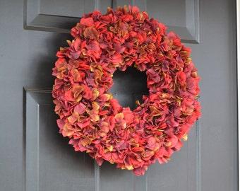Fall Decor- Red Apple Hydrangea Wreath- Fall Wreaths- Fall Hydrangea Wreath- Autumn Decoration- Thanksgiving Wreath- Thanksgiving Decor