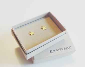 Mini Geo Brass Star Stud Earrings