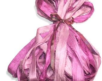 10YD SWEET RED WINE Sari Silk Ribbon Bundle//Dyed Silk Sari Ribbon Bundle//Sari Tassels,Sari Wall Decor,Sari Fiber Jewelry,Sari Tapestry