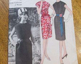 "1960s Mod DESIGNER Irene Galitzine Couturier Slim Sheath Dress - Size 14 (Bust 34"") - Rare VINTAGE Sewing Pattern Vogue 1095"