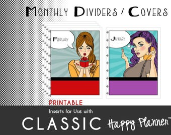 "Happy Planner PRINTABLE Dividers/Covers  Create 365 | mambi | Me & My Big Ideas - PDF  7 x 9.25 ""PopArt Prints"""