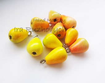 10 pcs. pears, polymer clay beads