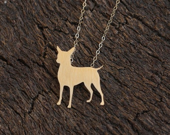Chihuahua Necklace, Golden Dog Charm, Cute Chihuahua Jewelry,Dog Jewelry, Chihuahua Dog Silhouette, Dog Necklace, Dog Pendant, Pet Jewelry