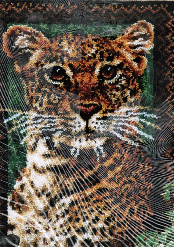 New Rug Hook Kit Leopard Design, Latch Hook Kit by Wonder Art, Wildlife Rug Hooking 4455 FREE Shipping USA