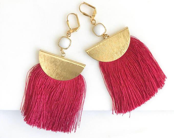 Red Tassel Earrings.  Chandelier Earrings. Tassel Dangle Earrings.  Statement Earrings. Jewelry. Gold Tassel Earrings. Christmas Gift.
