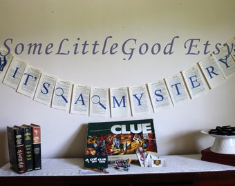 Game Night Party Decor, Large Mystery Party Garland, Sleuth or Detective Party Banner Printed on Detective Book Pages