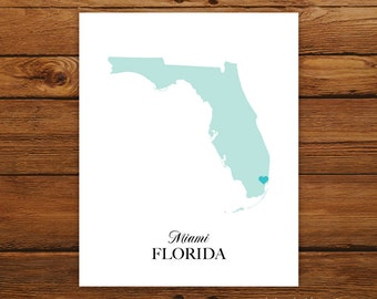 Florida State Love Map Silhouette 8x10 Print - Customized