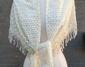 Bridal Shawl Ivory White Lace Fringed Scarf Thin Lightweight / Wedding Shawl  / Wedding Wrap / Knitted Shawl