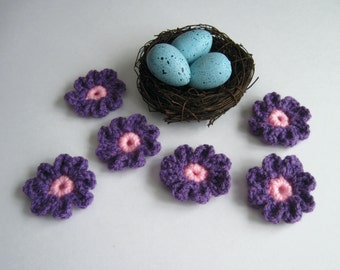 6 Crochet Daisy Applique Flowers - Set of 6 - Bright Pink and Purple Yarn