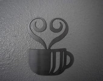 Coffee Cup Metal  / Metal Coffee Cup Sign Art / Kitchen Art/ Brake room / House Warming gift