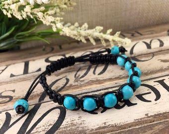Bleu Bracelet en macramé Turquoise pierres précieuses, pierres précieuses Boho femmes Bracelet en cuir, Bracelet noir bleu, cadeau d'anniversaire pour elle, cadeau pour maman