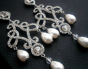 Bridal Crystal Pearl Earrings Large Chandelier Vintage Weddings Classic Scrolls White Pearls And Crystals Bridal Earrings SALE