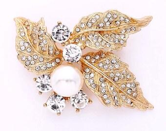 Gold Rhinestone Brooch, Wedding Brooch, Crystal Pearl Brooch, Leaf Brooch, Bridal Brooch, Bouquet Brooches Wedding Crafts, Gold Brooches