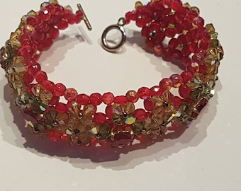 Woven boho beads and Swarovski Crystal bracelet