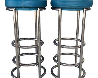 Chrome & Leather Bar Stools - A Pair