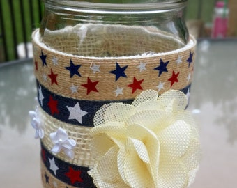 Mason Jar Patriotic Planter