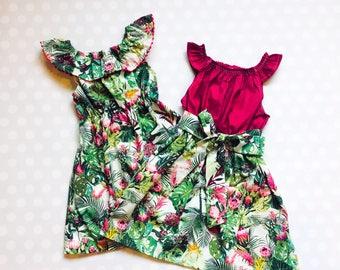 Sister Dresses - Matching Dresses - Matching Sister Dresses - Matching Not Matching - Pompom Collar Leaf Dress - Summer Dress