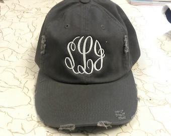 Distressed monogram baseball cap