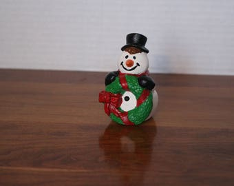 Snowman with wreath bisque hand painted