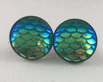 Mermaid Earrings - Mermaid Studs - Mermaid Gift - Nautical Earrings -Dragon Studs - Dragon Earrings - Mermaid Scales - Dragon Scales - Studs
