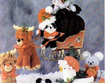 Vintage Christmas Critters Patterns to Crochet and 1 To Knit Santas Animal Helpers PDF Instant Digital Download Amigurumi Reindeer Goose