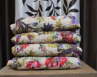 A Beautiful handmade Bird Print Kantha Quilt, Kantha Bedspread, Kantha Bedding & Bedcover, Kantha Throw 90 Inch X 108 inch