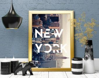 NY Art Print, NY Poster, New York Skyline, New York Poster, NYC, New York City, Manhattan, New York Wall Art, City Poster