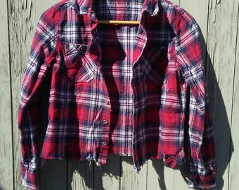 Cropped Flannel Shirt / Belly Shirt / Crop Top / Plaid / Lumberjack / Button Down / Festival / Indie / Boho / Grunge / Rocker / Long Sleeve