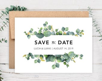 "Save The Date Cards - 5"" x 7"" Eucalyptus Wedding Announcement Cards - Save The Dates - Personalized Save the Dates - Photo Cards - #satd-272"
