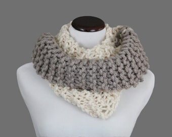 Two-Tone Light Gray/Ivory Infinity Scarf