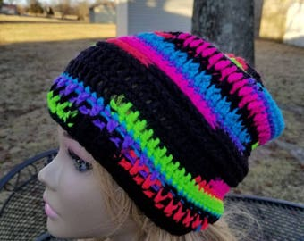 Rainbow, bright stripes,  slouch hat,  Adult