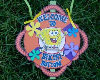 Spongebob Door Sign, Underwater, Under the Sea Birthday