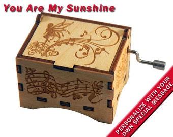 "Fairy Music Box, ""You Are My Sunshine"", Laser Engraved Wood Hand Crank Music Box"