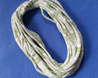 Spring Green and White Stripes Recycled T-shirt Infinity Scarf Necklace - upcycled tshirt scarf tarn tshirt yarn, striped scarf ecofashion