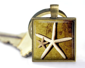 Summer Starfish Pendant, Necklace or Key Chain - Summer, Starfish, Starfish Necklace, Ocean, Beach