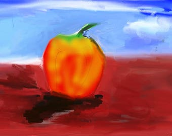 Apple on red table cloth, digital impressionistic art, digital art