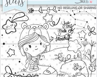 Bear Stamps, Sky Stamps, Digital Stamps, Digistamp, COMMERCIAL USE, Bear Coloring Page, Educational Clipart, Ursa Major, Ursa Minor, Clipart