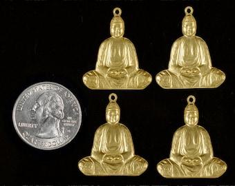 Four Raw Brass Buddha Charm-Pendant * B-C46