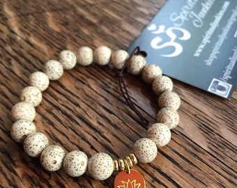 Stackable Mala Inspired Lotus Seed Beads + Hill Tribe Gold Vermeil Lotus Yoga and Meditation Bracelet