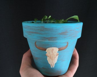 Cow Skull Flower Pot - Southwestern Flower Pot - Rustic