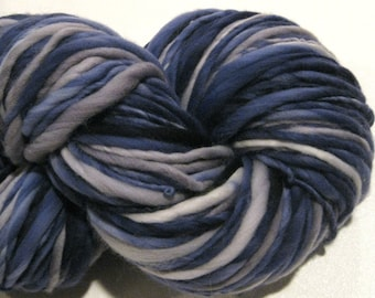 Bulky Handspun Yarn Clouds At Midnight 142 yards hand dyed wool navy grey gray waldorf doll hair knitting supplies crochet supplies