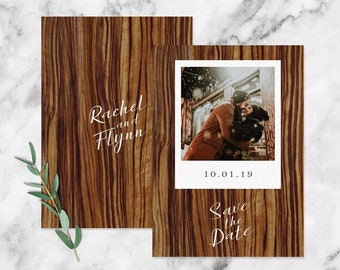 Modern Rustic Woodgrain 'Instant Photo' Style Photo Save the Date Card, Forest Wedding, Woodland Wedding, Outdoor Wedding, Evergreen Wedding