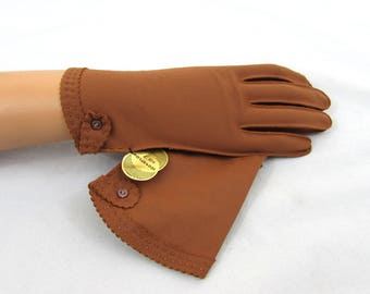 Cocoa Brown Nylon Gloves - NOS with original label - size 7 - 1950s