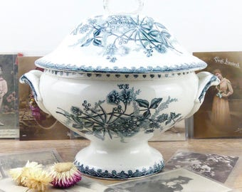 French soup tureen - Blue tureen - Antique - Tureen - French country - Country house - Large tureen - Antique decor - Shabby chic Kitchen