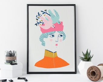 Victorian Lady Print - Gift For Her - Gift For Mum - Humorous Gift - Illustration Print - Portrait - Fashion Illustration - Wall Art