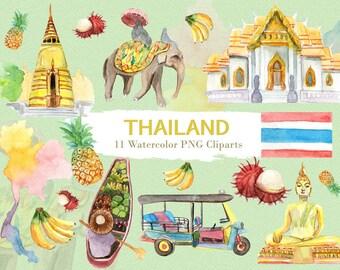 Thailand Clipart Watercolor Digital Download Travel Southeast Asia Bangkok Flag Buddha Tuktuk Country Invite Paint Original