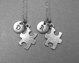 Best friend necklace, puzzle piece necklace, puzzle charm, puzzle jewelry, BFF necklace, best friend gift, friendship jewelry, initial charm