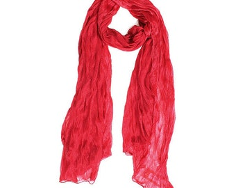 Romantic Red Crinkle Scarf