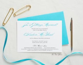 Turquoise Bridal Shower Invitations, Aqua Party Invitation, Affordable Bridal Shower Invites, Printed Bridal Shower Invitation, Amber