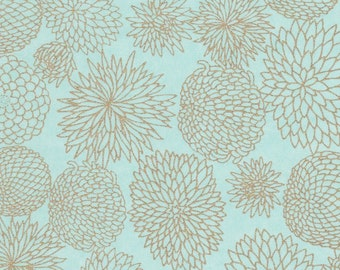 Chiyogami or yuzen paper - assorted elegant gold flowers on pale aqua background, 9x12 inches